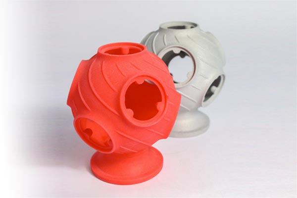 A red Castform-PS investment casting